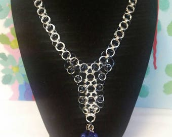 Navy Chainmaille Y Necklace