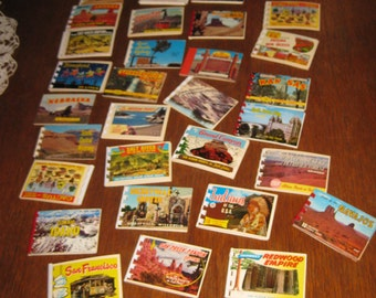 30 Vintage souvenir post card booklets Disneyland, California, San Fran, Wyoming, Oregon,Minneapolis, Ect 1960's *free shipping