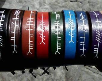 Personalised Ogham script leather wristband custom made