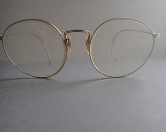 Artcraft Gold Wire Frame Eyeglasses Round Rx Lenses