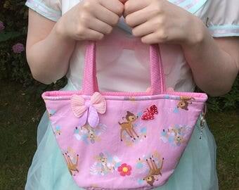 girls Bambi handbag / girls pink handbag / small girls bag / girls fabric bag / small girls tote bag / girls handbag with bows / pink bag /