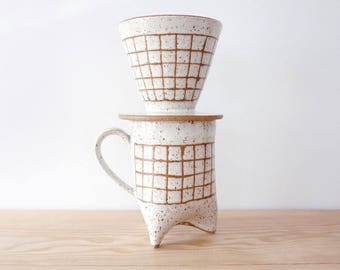 Made to Order | Grid white ceramic coffee pour over and mug set by MUD TO LIFE