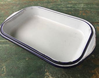 Set of Two Vintage Blue and White Enamelware Baking Pans