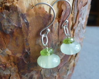 Serpentine and peridot earrings/Gift for her/ Birthstone Jewellery