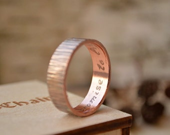 Copper Promise ring, Copper anniversary gifts for men, for him and her, Boho Style ring, Hand Hammered textured ornament, unusual thin ring