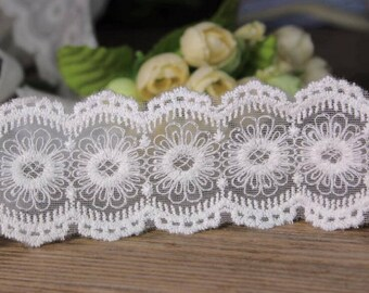 14yards Vintage Scollop embroidery mesh lace ribbon trim Ruffle decoden  -Col#White  Width#5.5cm