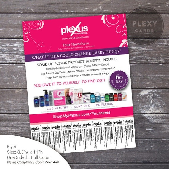Pink Fancy Plexus Flyer With Tear Off Tabs Digital by PlexusCards – Tear off Tab Flyer