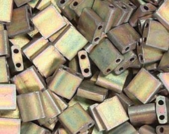 5/10g  Miyuki Tila Two Hole Beads Matte Metallic Khaki Iris Tila TL2035 Bead  5x5mm Tila Bead