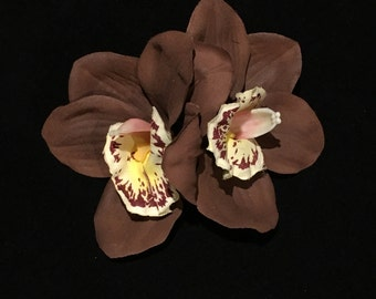 Light Brown Double Cymbidium Orchid Pin Up Hair Flower Clip