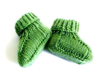 """Zucchini"" green Baby Slippers"