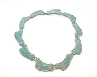 Vintage Sterling Silver Necklace with Turquoise, c. 1950