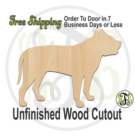 Pit Bull - 230085- Animal Cutout, unfinished, wood cutout, wood craft, laser cut shape, wood cut out, Door Hanger, Dog, wooden, blank
