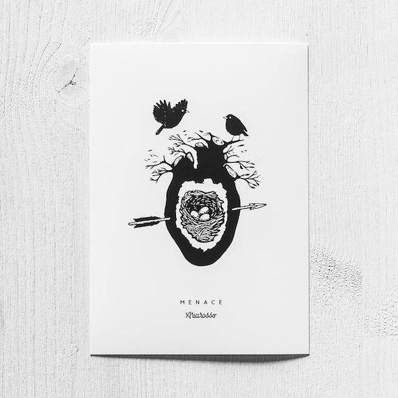 Poster Art Print - Menace Blackwork Series A5 Size - Birds Nest Heart ...