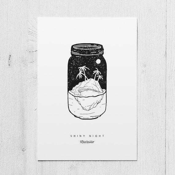 Poster Art Print - Summer Vibes Part I: Shiny Night A5 Size - Night De...