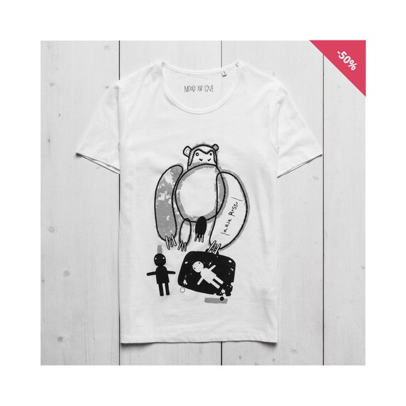 Man Graphic Tee Printed t-shirt White Organic Cotton - Monkey...