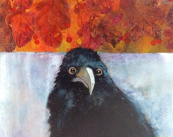 Original Foggy Morning - 9x9 Crow or Raven. My bird sits in a misty foggy background - above him is a band of hand painted oak leaves.