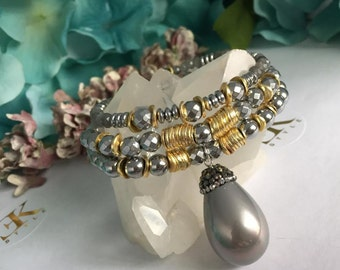 Mother of Pearl,Labradorite Hematite Bracelet, Stretch Bracelet, Stack Bracelet, Bracelet Set,