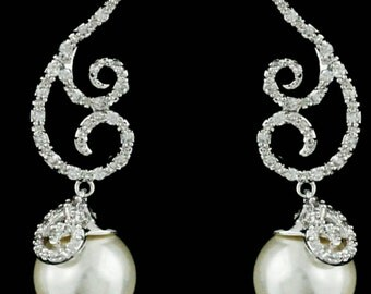 New Stunning S SHape Swirl Bridal  Austrian CZ A+++ Crystal Dangle with Pearl Drop 1   1/4'' L  Statement Pierced Earrings