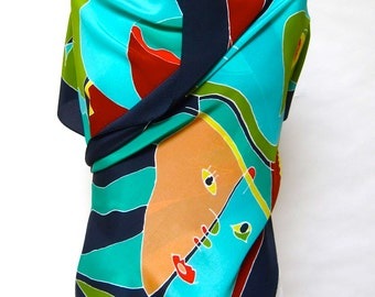 """Picasso-inspired women's Silk scarf hand screened in Italy. Oblong shape 17"""" X 60"""" crepe de chine."""
