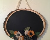 Mustard/Grey/Navy/Cream Flower Wood slice