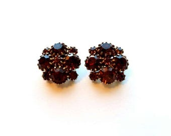 Vintage Gold with Topaz Brown Rootbeer Glass Bead Cluster Clip On Earrings