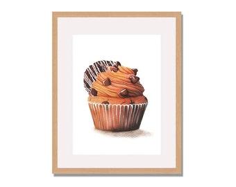 Cookie  Cupcake Fine Art Print, Cupcake Watercolor Art Print, Cupcake, Kitchen Decor, Wall Art, Home Decor,Food Illustration