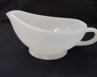 Vintage, Fire King, White Milk Glass Gravy Boat. 1960's