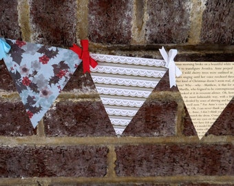Anne of Green Gables Christmas Paper Pennant Banner / Book Page Decor / Christmas Garland / Holiday / Party / Bunting / Garland