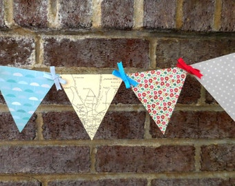 Rule Britannia Paper Pennant Banner / British Travel / London Map / Anglophile / Bon Voyage / Party / Bunting / Garland