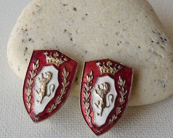 Vintage Lion Shield Earrings Brass Gold Enameled British Clip On Earrings, Heraldic Shield With Lion And Crown, Collectible Jewelry 50's