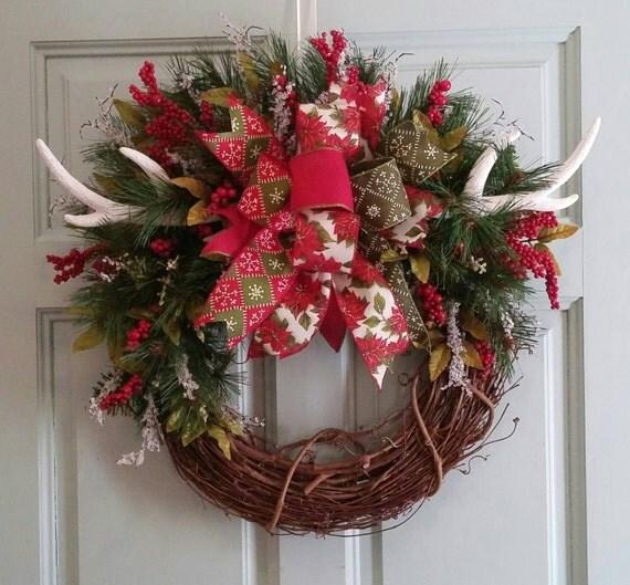 Items similar to christmas wreath christmas decor antler for Antler christmas wreath