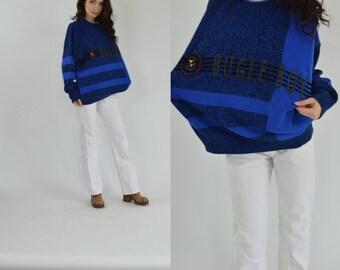 Vintage 80s sweatshirt Streetwear Striped sweater sweatshirt Bugle boy oversized jumper sweater