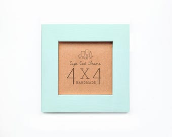 4x4 Picture Frame - Mint - Frame for 4x4 Tiles, Instagram Prints or Needlework. Solid Wood Frame.
