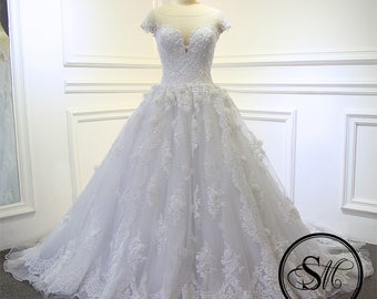 A-line Sweetheart Neckline V Neck Cap Sleeves Princess Court Train Lace Chiffon White Wedding Bridal Dress Gown Fashion Custom