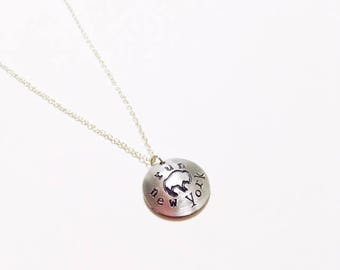 Run Buffalo NY Necklace Hand Stamped