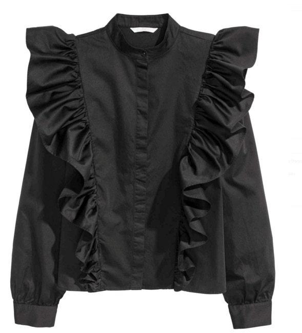 LILU RUFFLE BLOUSE - Black - Made to Order - Women Ruffle blouse ...