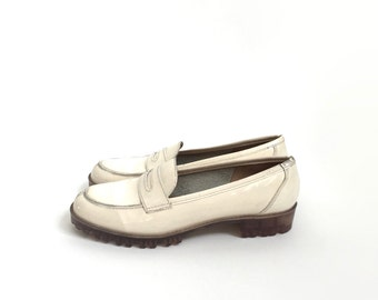 1990s // Cream patent leather clear lug sole loafers