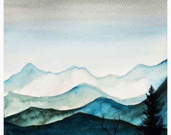Stag on the Mountain A3 Print