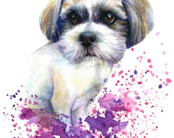 Bespoke Pet Portrait colourful illustration made with watercolours and pastels personalised painting