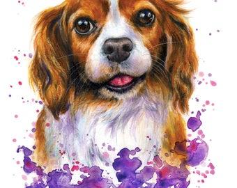 Custom Pet Portrait from photo Dog Portrait Painting Original handmade watercolour art Personalised illustration commission fun colourful