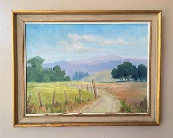 "Original Oil Painting Vintage Signed ""Margaret Edwards"" dated ""July 1961"" Tilte ""The Country Side"" , Salinas CA Country Side Oil Painting"
