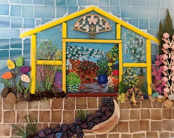 Glass Mosaic Scene - Yellow Frame Greenhouse