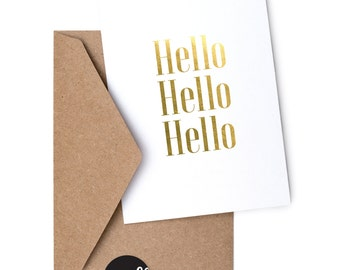 Hello - Foil Greeting Card