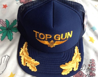 Vintage 80s NWT Top Gun trucker hat