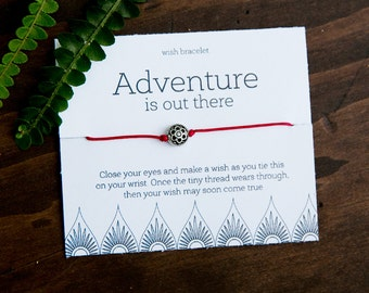 Adventure Is Out There Wish Bracelet, Creative Friendship Bracelet, Graduation Gift, Gifts under 5, Inspirational Bracelet, Travel Gift