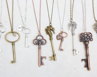 Key Necklace, Boho Silver Key, Brass Copper Silver Key Charm, Key Bottle Opener, Key necklace Vintage, Skeleton Key, Tiny Key Jewelry