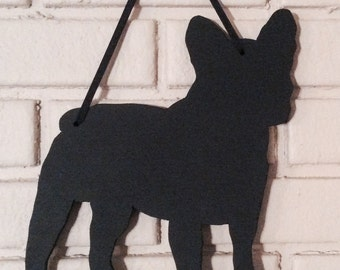 French Bulldog Dog Handmade Blackboard  Wall Hanging - Frenchie Shadow Silhouette -Country Decoration - Great Gift