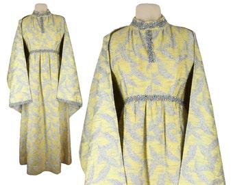 Vintage Dress, 1960s Dress, 60s Dress, Yellow Vintage Formal Dress, Brocade Dress, Cape Dress, Long Formal Dress, Evening Gown, Size Medium