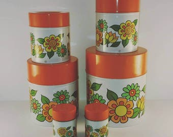 Retro Orange and Yellow Flower Canister Set with Matching Salt and Pepper / Vintage Metal / Hippy Style / Bold Flowers