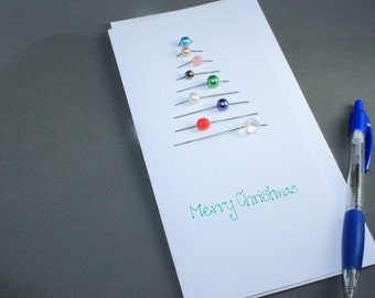 Threaded Christmas Tree Greeting Card- Assorted Beads